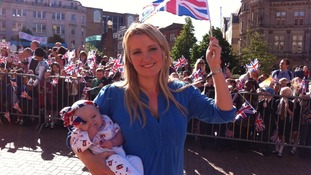 Jubilee baby Alicia with mum Claire o'Shea wait to cheer the Queen