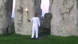 Flame's dawn visit to Stonehenge