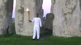 Flame's dawn visit to Stonehenge