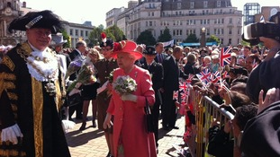 The Queen meeting officials outside Birmingham Council House