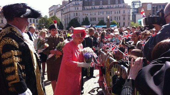 The Queen saying hello to schoolchildren in Victoria Square in Birmingham
