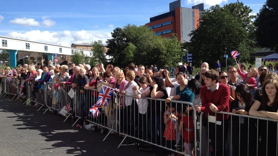 Crowds waiting outside the hospital for The Queen to arrive