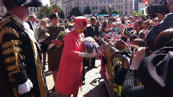 The Queen greets the public in Victoria Square in Birmingam