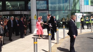 The Queen leaving the QE Hospital after officially opening it this morning