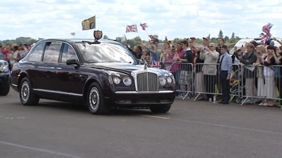 The Queen arriving at RAF Cosford