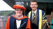 Eddie Izzard with Steve Cram who is Chancellor of Sunderland University