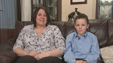 Nicola Scholes and her son Liam on Good Morning Britain.