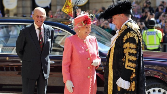 The Queen and The Duke of Edinburgh in Victoria Square, Birmingham