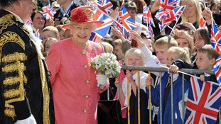 The Queen with flowers from the Birmingham public