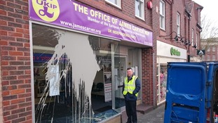 Vandals smashed windows and threw paint at the UKIP office on Coventry Street in Kidderminster
