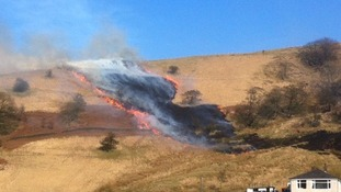 Firefighters are tackling a moorland fire on the Pennines
