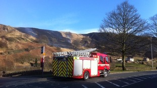 Firefighters from West Yorkshire & Greater manchester aretackling a moorland blaze