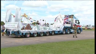 A Diamond Jubilee painted lorry from Ridgway Rentals at the parade in Shropshire today