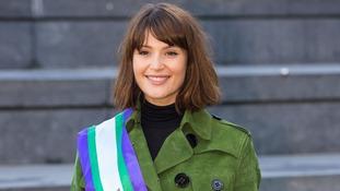 Actress Gemma Arterton wearing a 'Votes for Women' sash