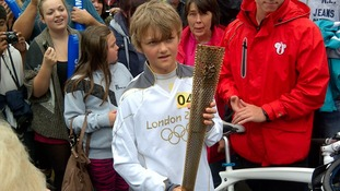 Freddie Wright holds the torch