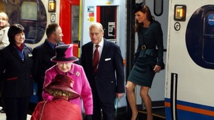 The Royal Party arrive at Leicester station