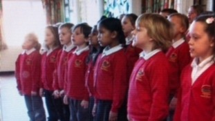 School children from Church Hill Junior School in Thurmaston, who sang in front of The Queen