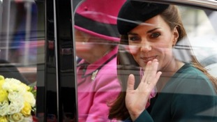 Kate waves goodbye to the people of Leicester