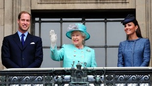 The Royal Wave from the balcony of Nottingham Council House