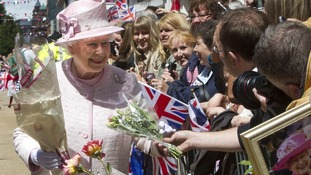 The Queen meets the crowds of Worcester