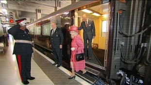 The Queen and the Duke of Edinburgh arriving in Birmingham