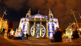 Leeds Civic Hall during a light show