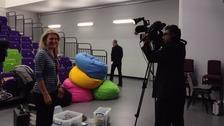 Election School Debate director Laura Craig on set in West Bromwich