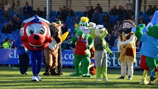 Mascots in Unison at Sandy Park