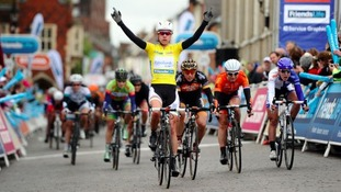 Marianne Vos wins stage 5 in Bury St Edmunds last year.