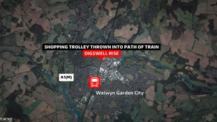 A shopping trolley was thrown into the path of a commuter train.