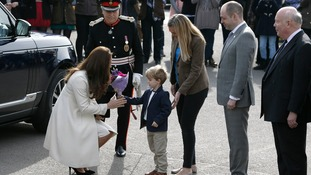 The Duchess is greeted by the child actor who plays George Crawley in the series.