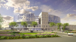 An architect's impression of how the new Papworth Hospital will look.