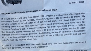 Letter from Michael Bishop from Western Greyhound