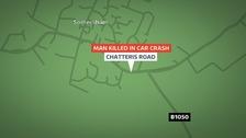 Location of fatal crash in Somersham