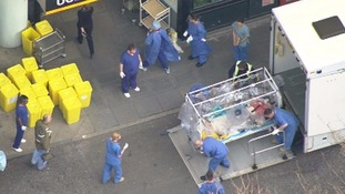 The UK healthcare worker infected with Ebola was taken to hospital in London yesterday.