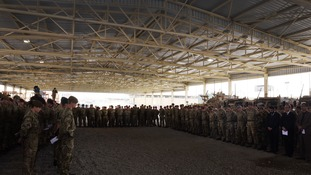 The troops gathered at the Afghan National Army Officers Academy in Kabul.
