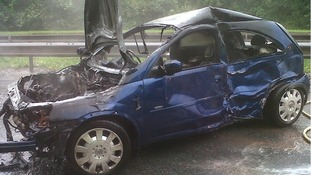 The car involved in the crash in Redditch this morning