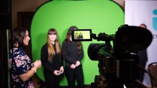 The girls got a chance to present infront of a green screen
