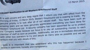 Workers were handed letters today saying the company had ceased trading