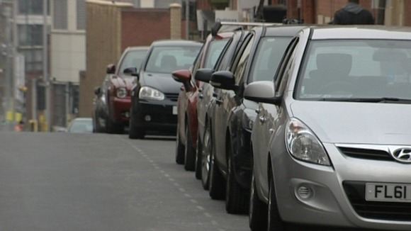 Cars parked in Nottingham City Centre