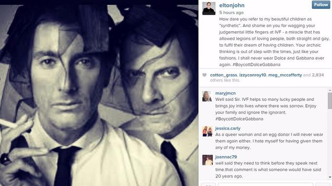 Sir Elton took to Instagram to boycott Dolce and Gabbana.