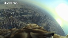 Darshan flew over Dubai with a camera attached to his back.