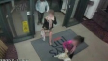 CCTV showing John Shaw checking into a hotel with two teenage girls