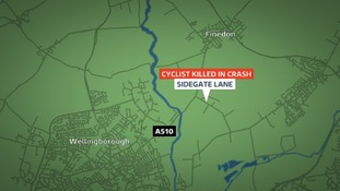Location of crash near Wellingborough, Northamptonshire.