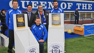 Standing left to right, Queens Captain, Chris Higgins, Director, Mark Blount,  Andy Cochrane of the Queens Trust and Queens defender, Mark Durnan.  Sitting centre, midfielder, Paul Burns.