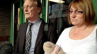 Chris Bazlinton and Tina Hughes, parents of Olivia Bazlinton, outside Chelmsford Crown Court,