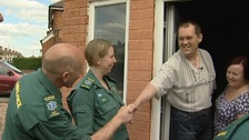 Simon Bakewell meeting the paramedics who helped save his life