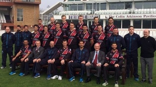 Somerset Cricket squad for the 2015 season in the club's one day kit