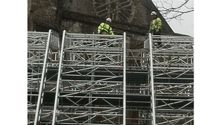 Scaffold on cathedral