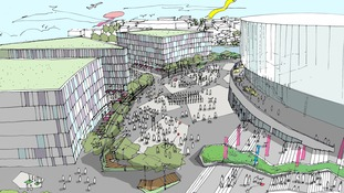 Bristol Arena Plaza Aerial Sketch
